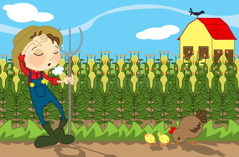 Farm. Illustration about a country landscape with a tired farmer, a hen and her chicks, some corn and a farm in the back