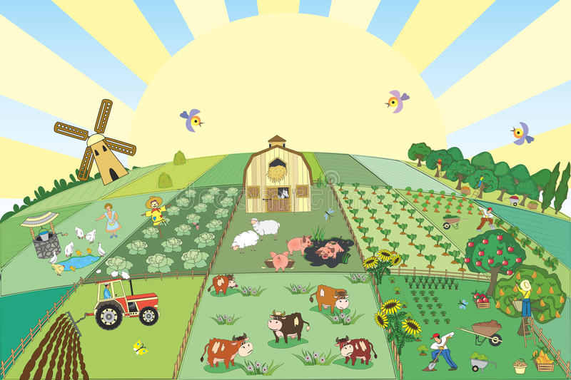Farm. Background with cute farm and everything connected with it - vector illustration stock illustration