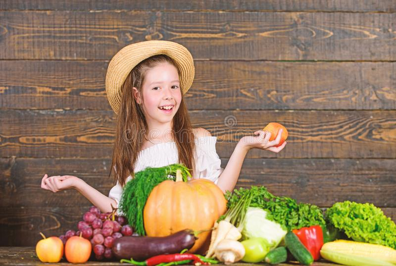 Farm activities for kids. Traditional farm market. Child celebrate harvesting. Girl kid farm market with fall harvest royalty free stock photo