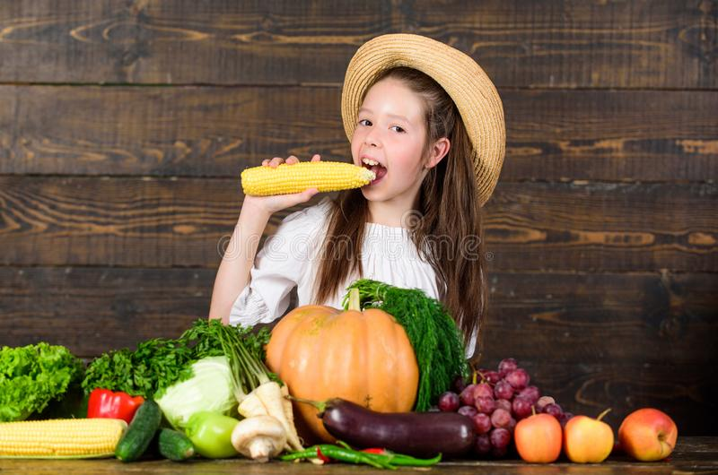 Farm activities for kids. Traditional farm market. Kid farmer with harvest wooden background. Child celebrate harvesting. Girl kid farm market with fall royalty free stock image