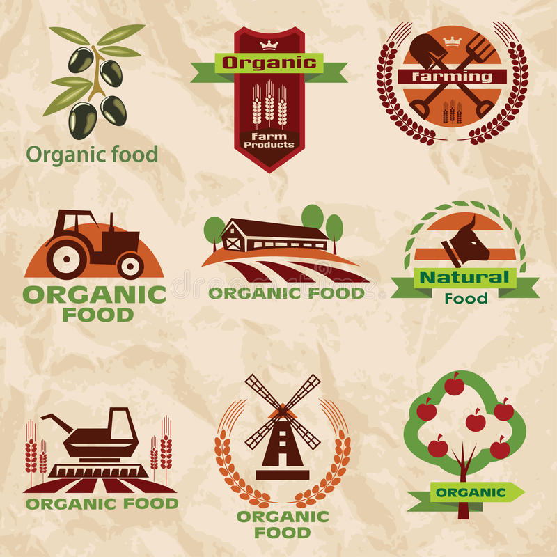 Farm, agriculture icons, labels collection vector illustration