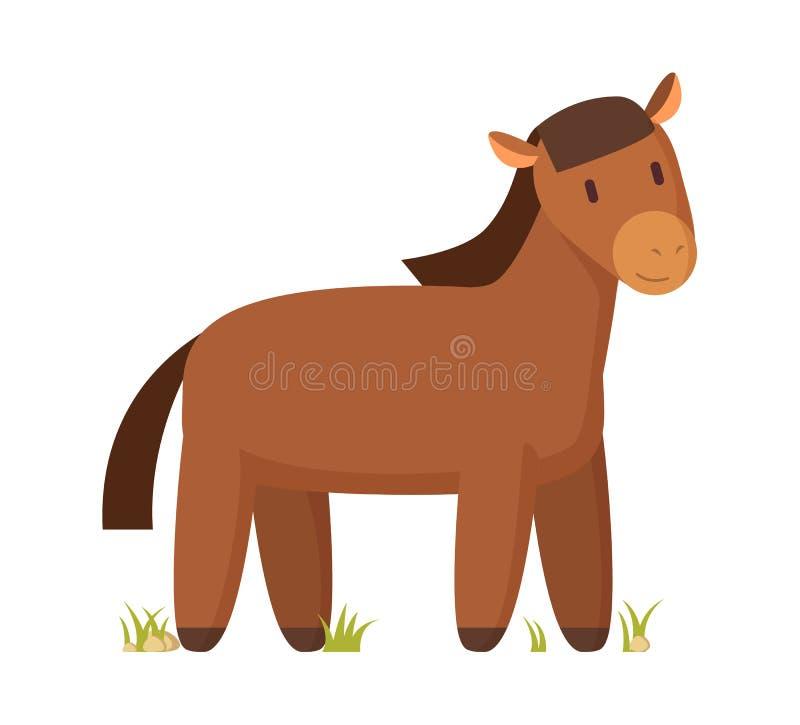 Farm Animal Brown Horse Illustration on White vector illustration