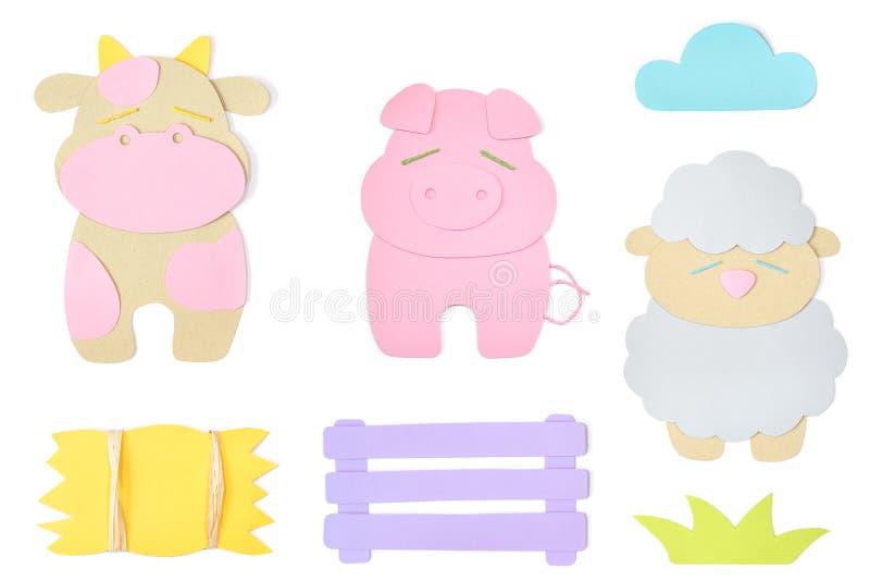 Farm animal element paper cut on white background vector illustration
