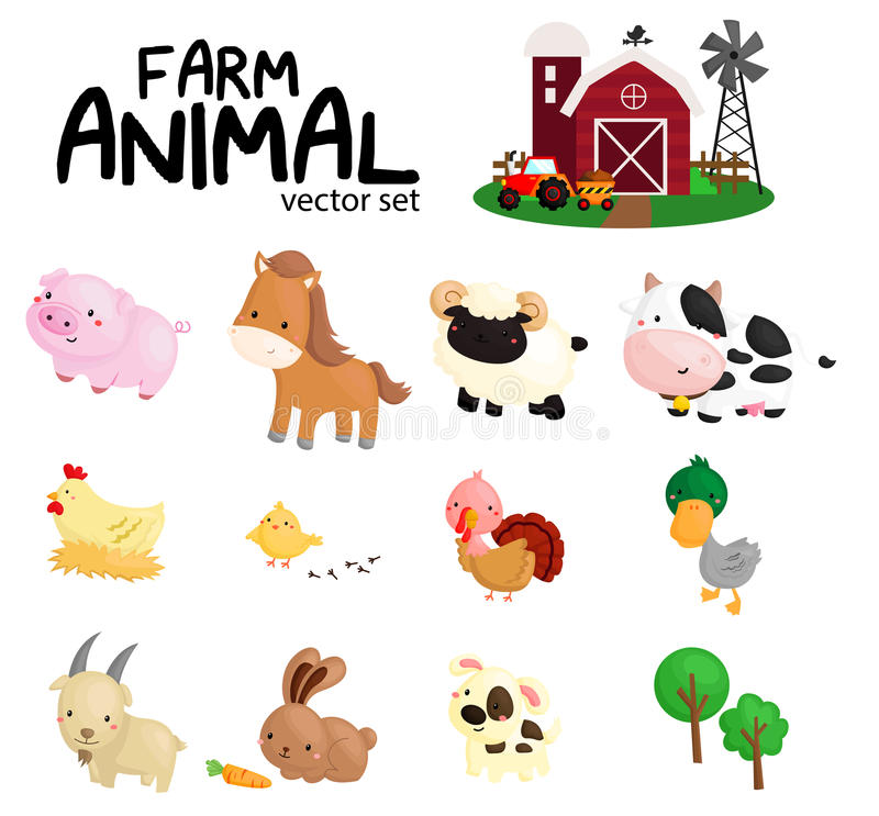 Farm animal no background. A vector of farm animal no background stock illustration