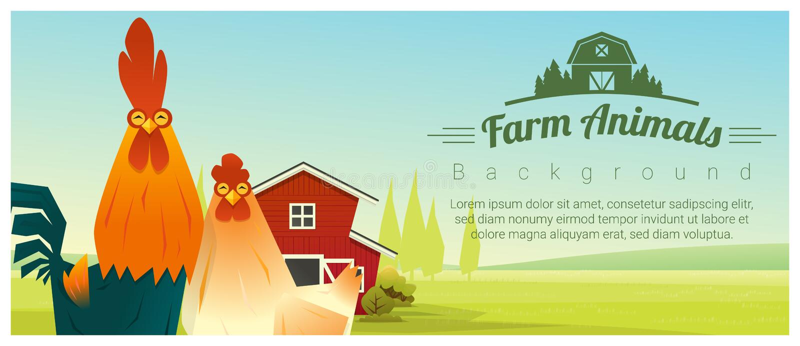 Farm animal and Rural landscape background with chicken vector illustration