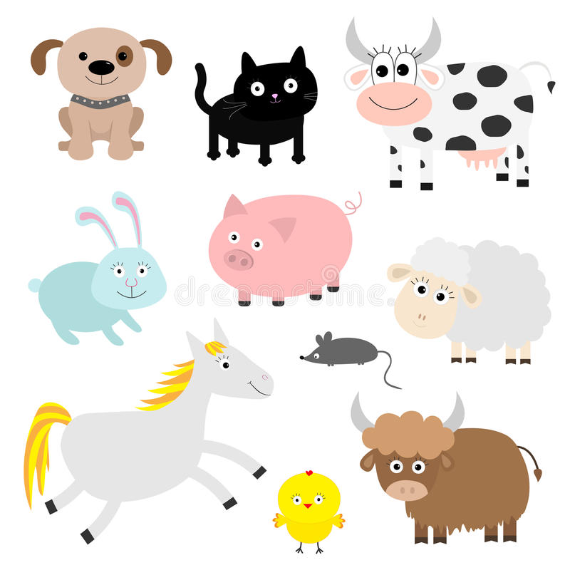 Farm animal set. Dog, cat, cow, rabbit, pig, ship, mouse, horse, chiken, bull. Baby background. Flat design style. vector illustration