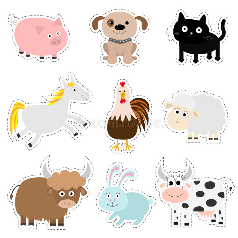 Free Farm Animal Set. Pig, Dog, Cat, Cow, Rabbit, Ship Horse, Rooster, Bull Baby Collection. Flat Design Style. Isolated. White Stock Photography - 79727202