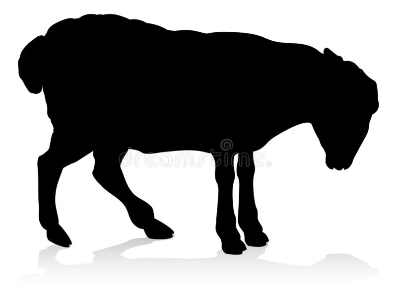 Sheep Farm Animal Silhouette stock illustration