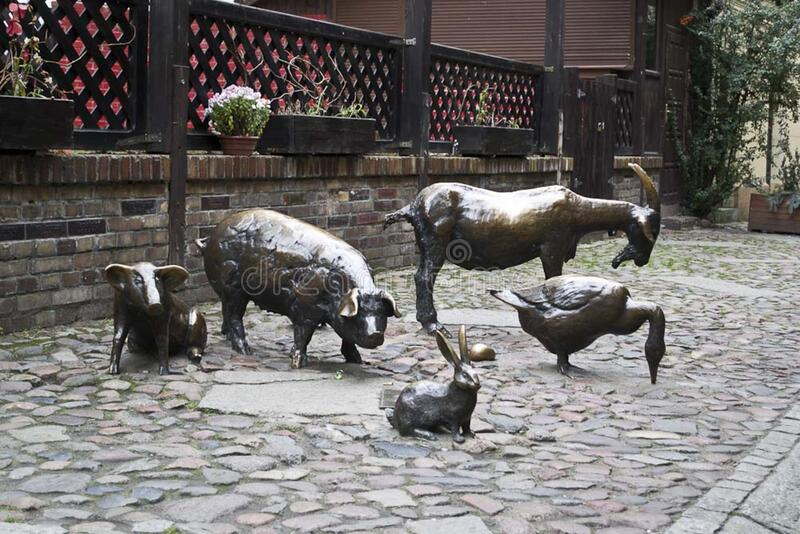 Farm animal statues, Jatki, Poland royalty free stock photo