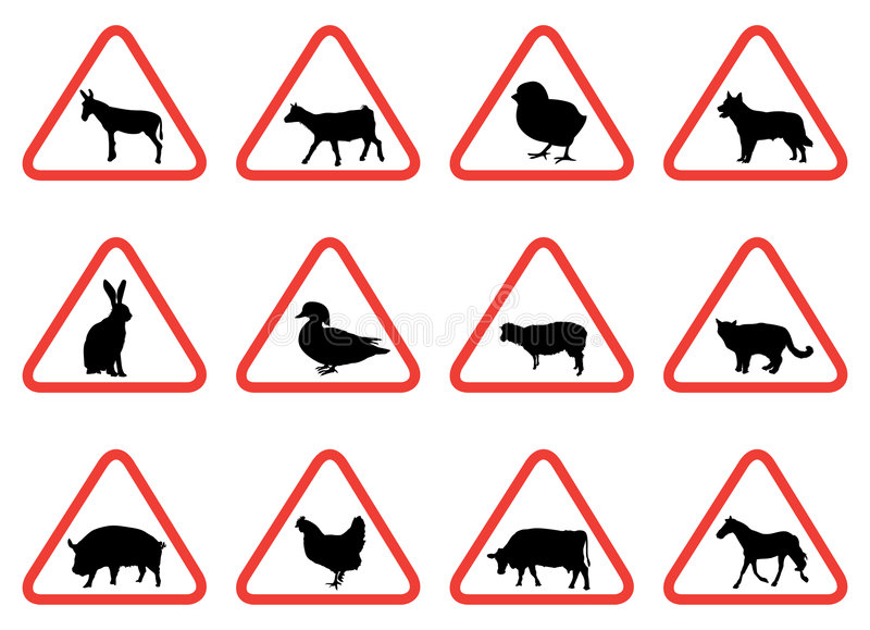 signs warning animal animals farm vector sign clipart royalty clip preview twelve selection eps gograph dreamstime fotosearch