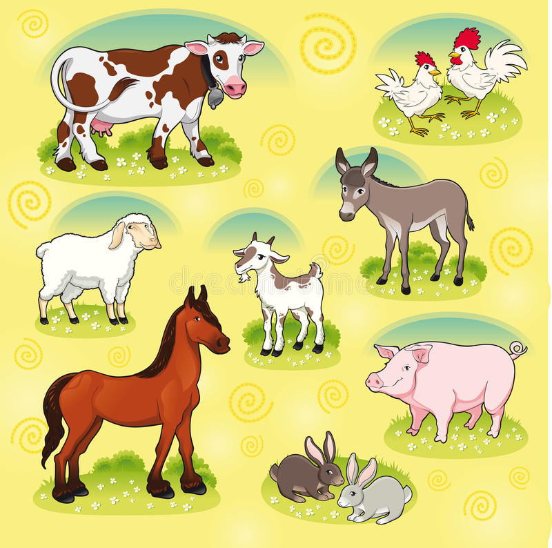 Download Farm animals. stock vector. Image of animal, burro, rooster - 21059665