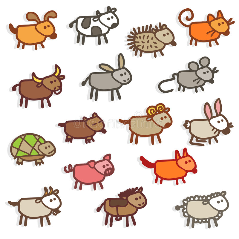 Farm animals. Vector color icons - farm animals