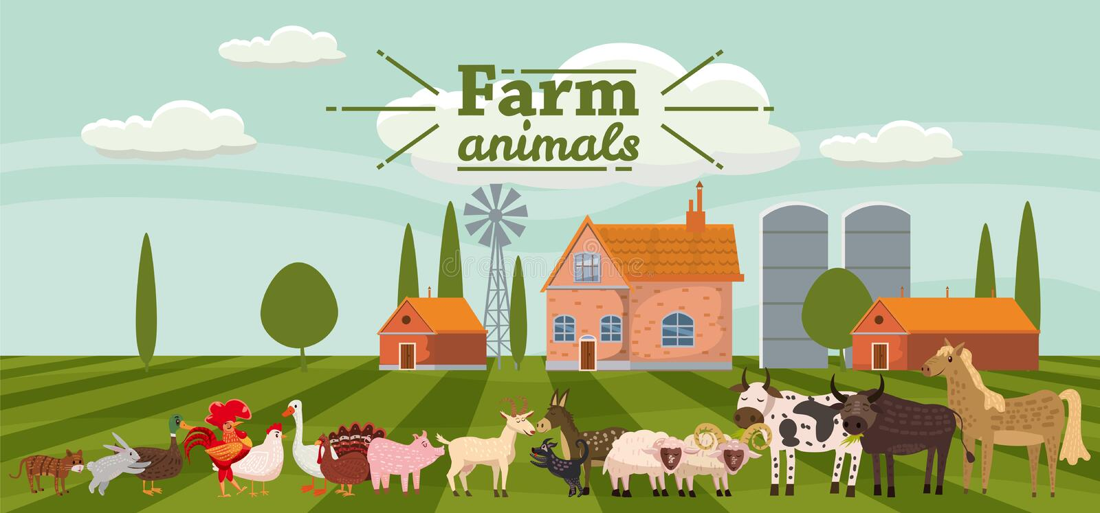 Farm animals and birds set in trendy cute style, including horse, cow, donkey, sheep, goat, pig, rabbit, duck, goose royalty free illustration