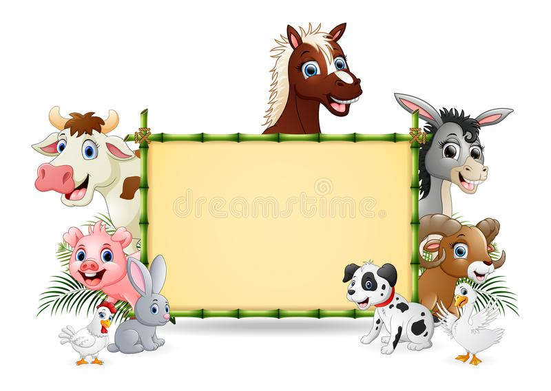 Farm animals with a blank sign bamboo. Illustration of farm animals with a blank sign bamboo stock illustration
