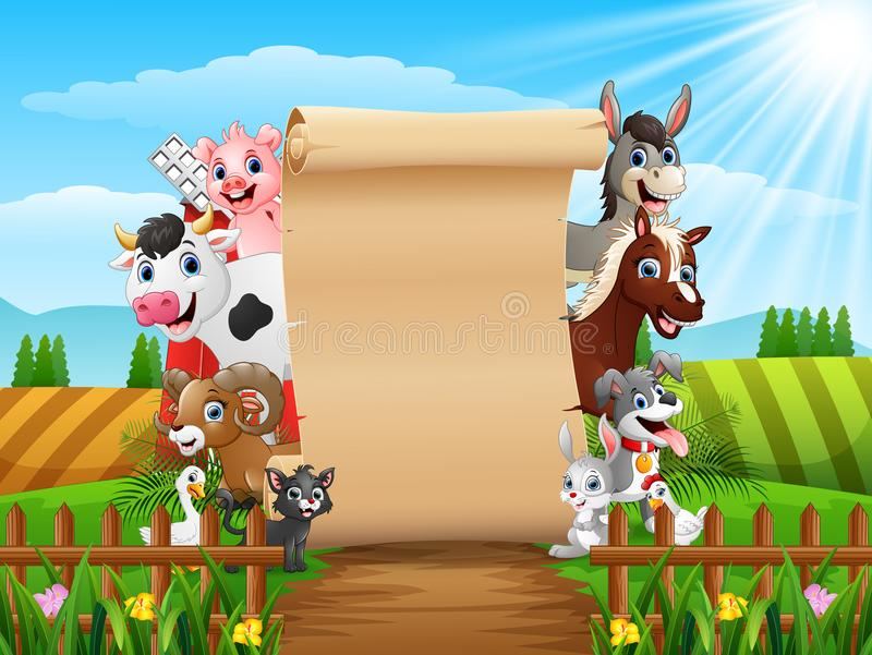 Farm animals with a blank sign paper. Illustration of Farm animals with a blank sign paper vector illustration