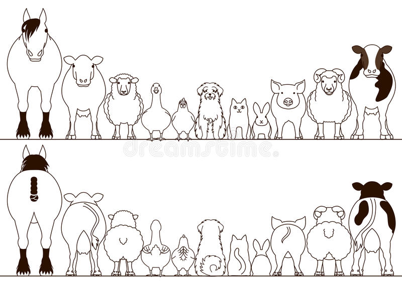 Farm animals border set, front view and rear view stock illustration