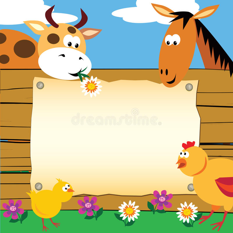 Download Farm animals card stock vector. Illustration of background - 22382832