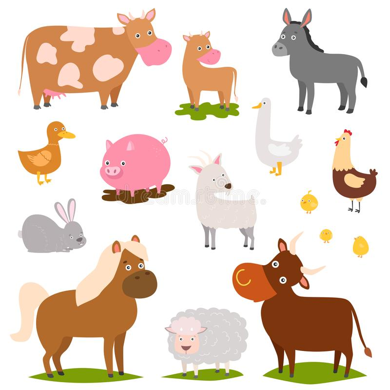 Farm animals cartoon characters family rural organic harvest farming domestic agriculture thoroughbred vector royalty free illustration