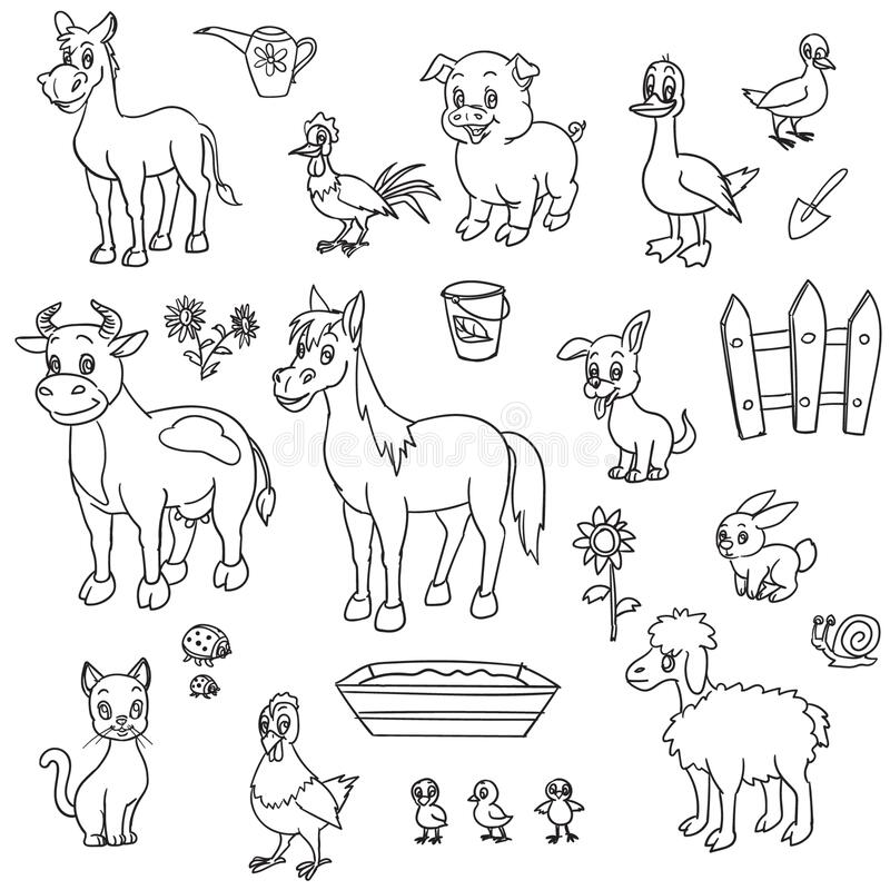 - Farm Animals For Coloring Book Stock Vector - Illustration Of Duck, Horse:  170694199