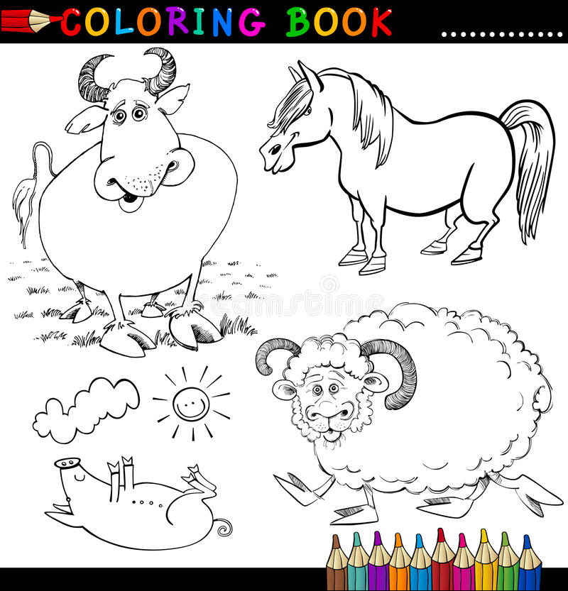 Download Farm Animals For Coloring Book Or Page Stock Vector