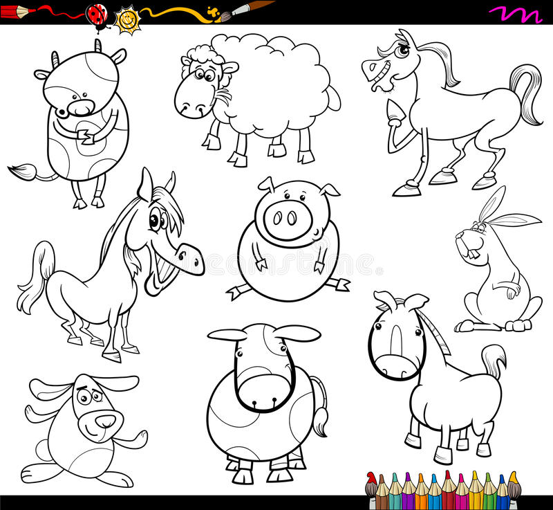 Farm animals coloring page stock vector. Illustration of comics ...