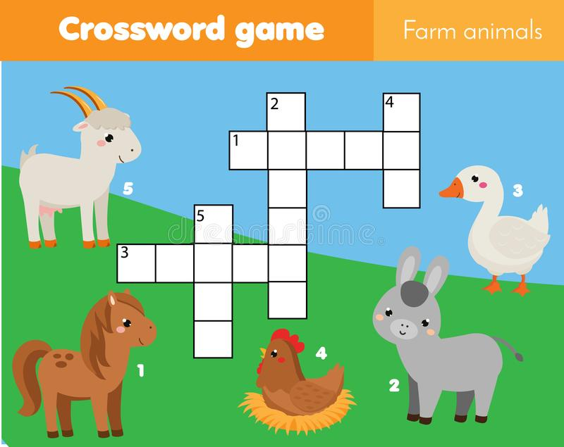 Farm animals crossword for kids. Educational children game. Learning vocabulary vector illustration