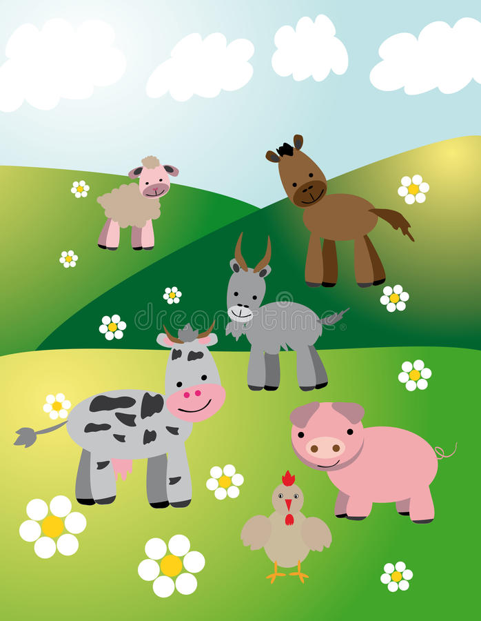 Download Farm Animals On Fields Stock Photos - Image: 31999533