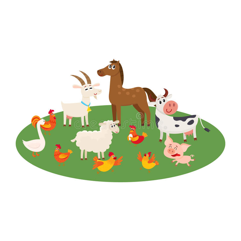 Farm animals grazing in the pasture, grazing on green lawn stock illustration