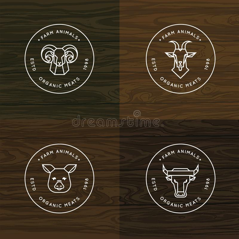 Farm animals illustration or logo vector set of 4 illustrations isolated in wood vector background vector illustration