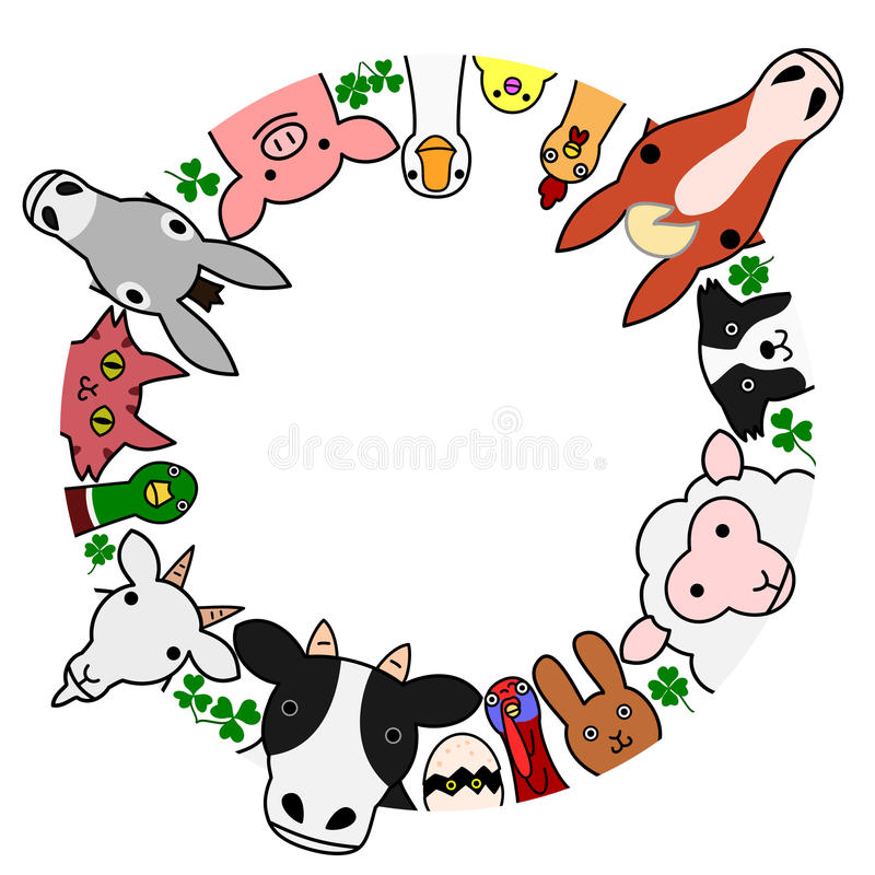 Free Farm Animals In Circle With Copy Space Stock Photos - 57161663