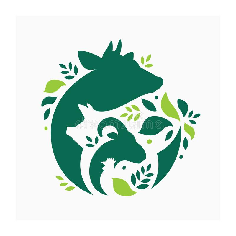 Farm animals logo with leaves. Vector illustration with cow, pig, goat and chicken.  Livestock pattern with farm animals and leaves. Green logo for agricultural royalty free illustration