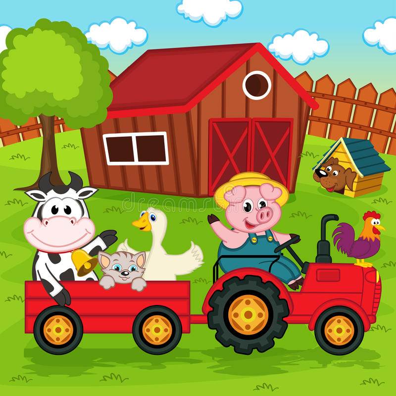 Farm animals ride on the tractor in the yard royalty free illustration