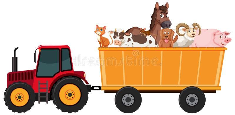 Farm animals riding on tractor. Illustration royalty free illustration