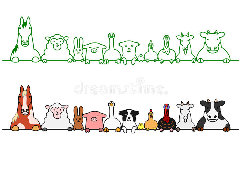 Farm animals in a row with copy space. Cute farm animals in a row with copy space vector illustration