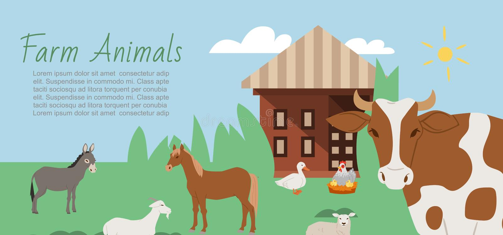 Farm animals and rural landscape background vector illustration. Cartoon cow, horse, goat with donkey and duck with stock illustration