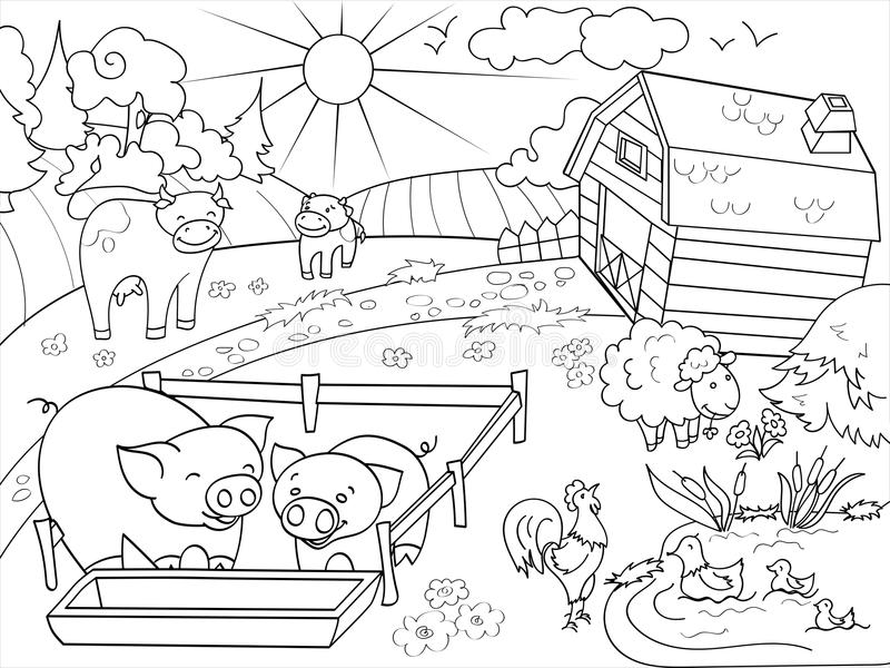 Farm animals and rural landscape coloring vector for adults. Farm animals and rural landscape coloring book for adults vector illustration. Anti-stress for adult stock illustration
