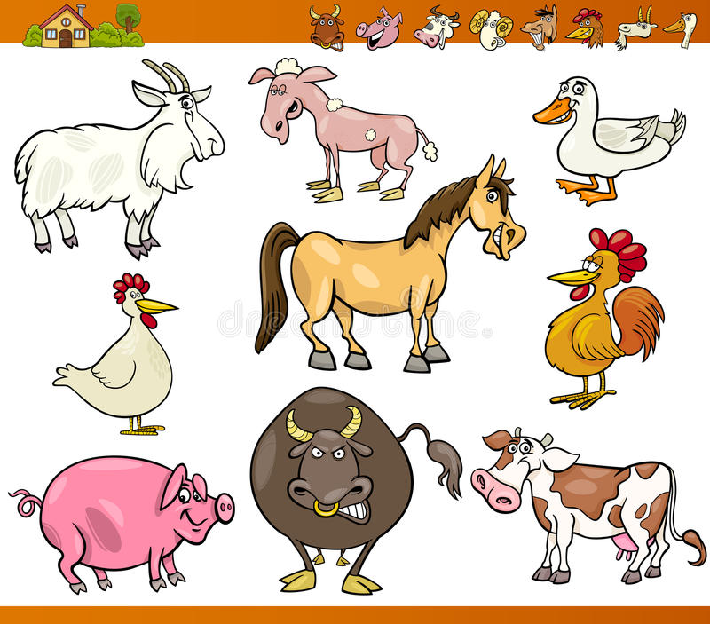Farm Animals Set Cartoon Illustration Stock Image
