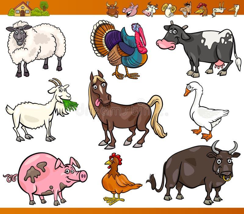 Farm Animals Set Cartoon Illustration Stock Images