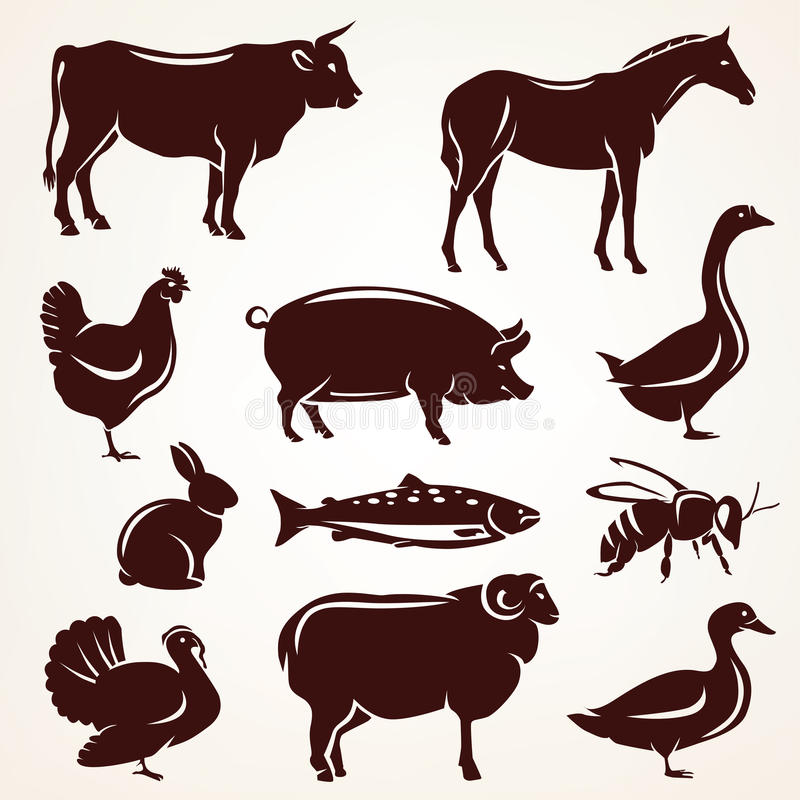 Farm animals silhouette collection royalty free illustration