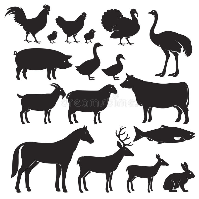 Farm animals silhouette icons. royalty free illustration