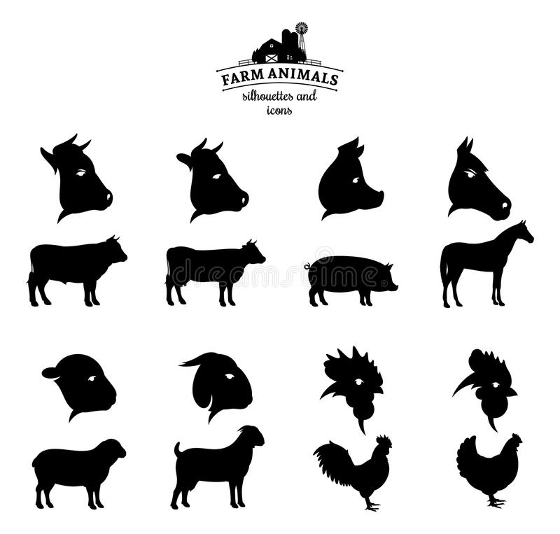 Farm Animals Silhouettes And Icons Isolated On White Stock