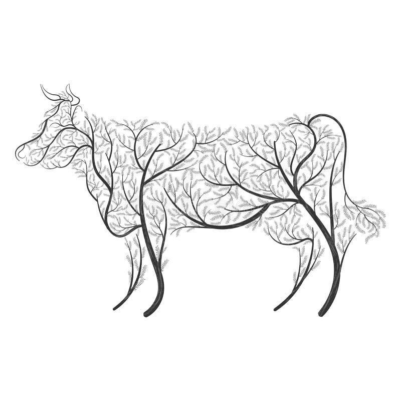 Farm animals. Stylized bushes cow royalty free illustration