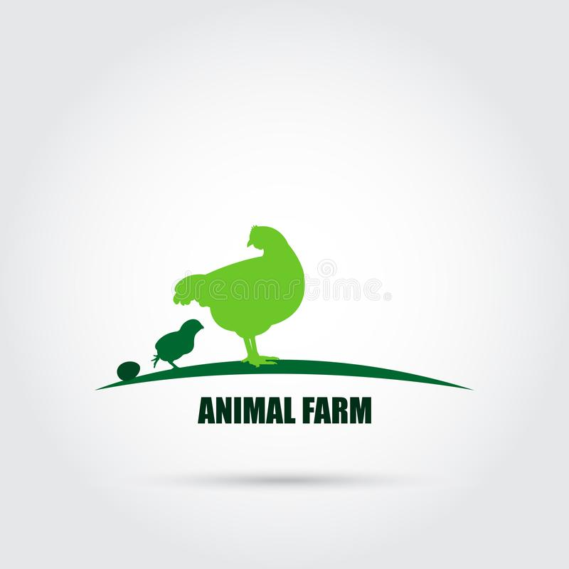 Farm animals vector icon in green tones. Chicken family. Poultry farm. Suitable for packing icons. Farm advertising stock illustration