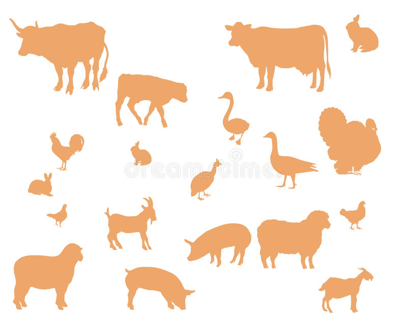 Farm animals vector silhouette royalty free illustration