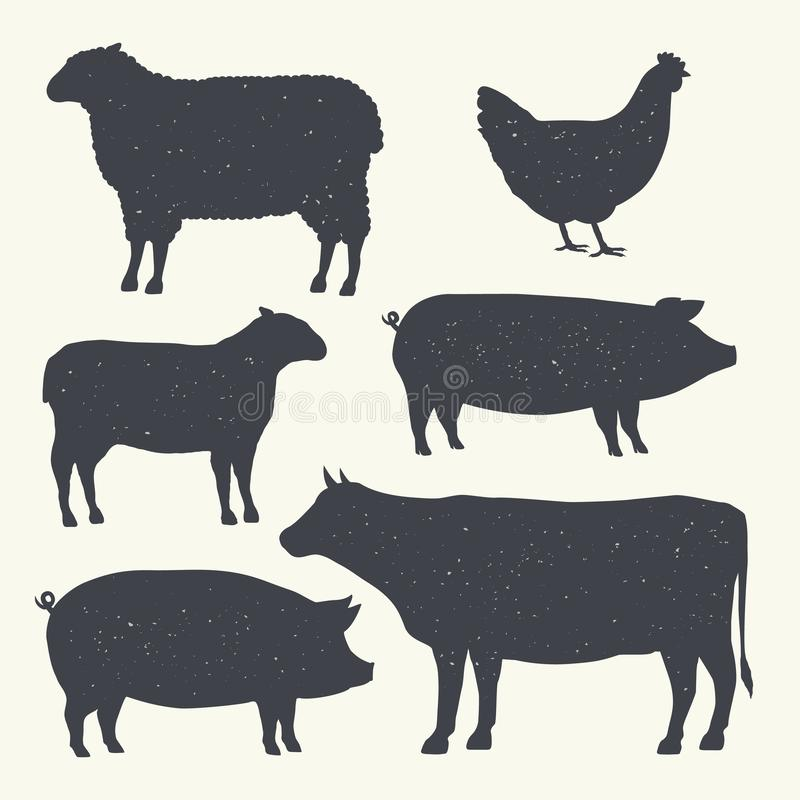 Farm Animals Vintage Set. Silhouettes of Cow, Pig, Sheep, Lamb, Hen. Farm Animals icons isolated on white background. Vector. Desi vector illustration