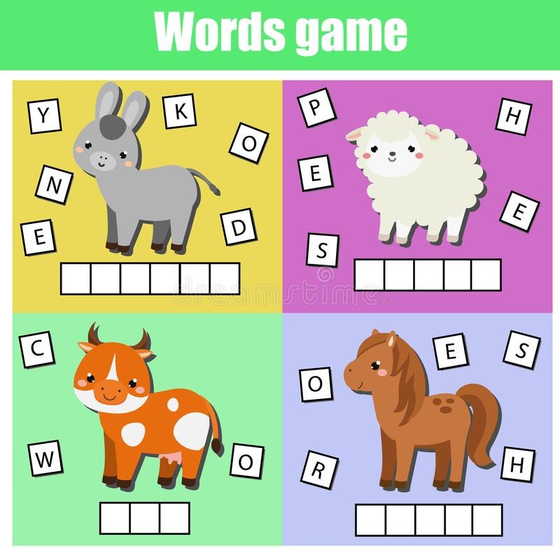 Farm animals. Write missing letters and complete words. Crossword for kids and toddlers. Educational children game. Learn English royalty free illustration