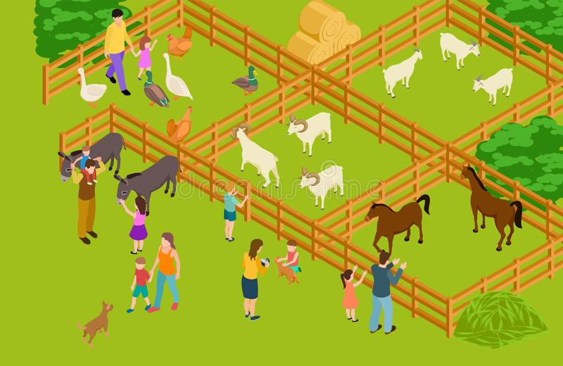 Farm animals zoo. Isometric vector livestock and people characters. Happy family time with domestic animals and pets vector illustration