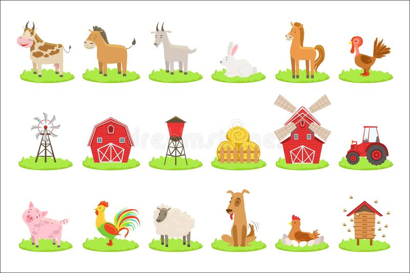Farm Associated Animals And Objects Set vector illustration