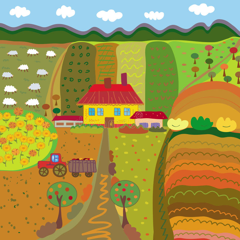 Farm at the autumn. Farm with fields and meadows at the autumn royalty free illustration
