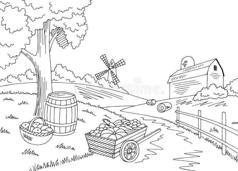 Farm autumn graphic black white landscape crop harvest sketch illustration vector royalty free illustration